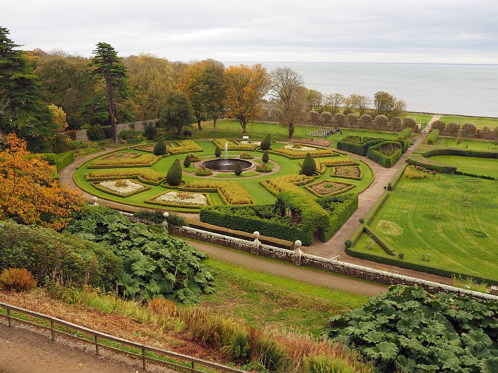 This is just a portion of the garden below Dunrobin Castle in Scotland; I couldn't get the whole thing in one photo. I took the picture from the base of the castle on a small hill. It was just a little too late in the year to be a pretty fall garden.