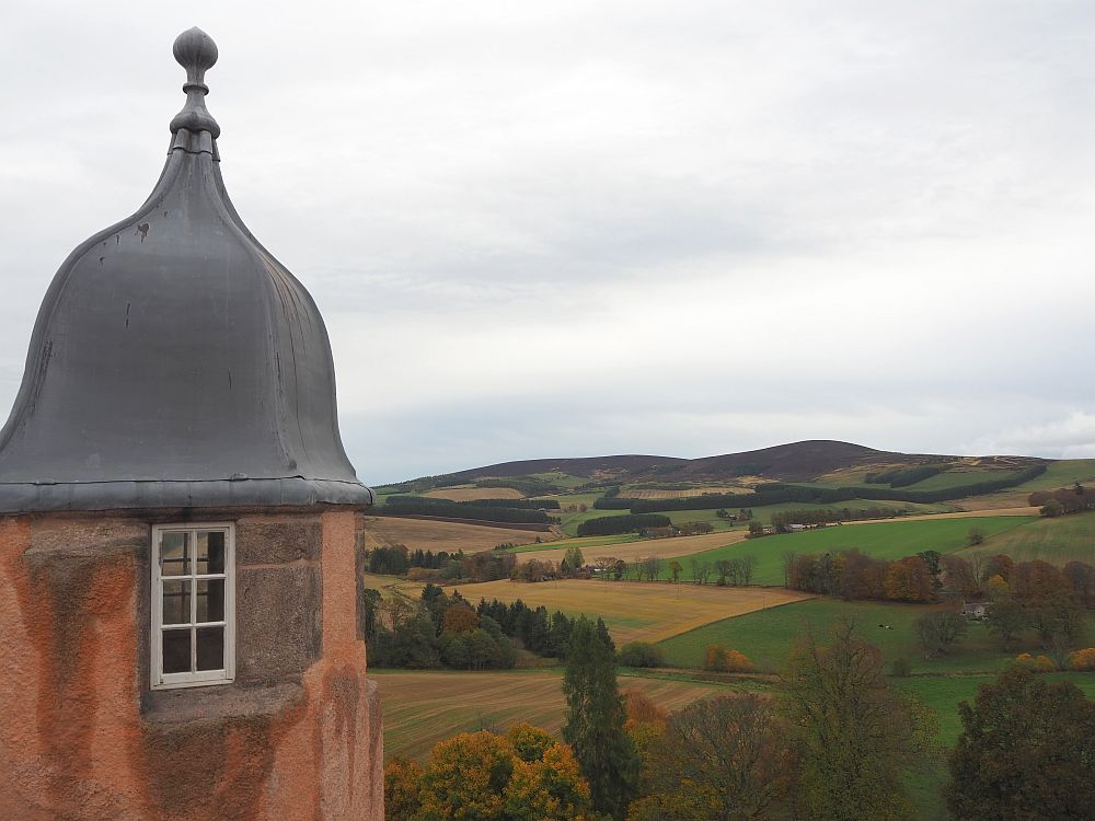 part of the view from one of Craigievar Castle's towers.