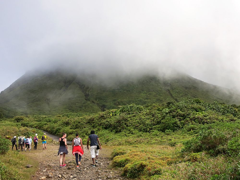 The second part of the trail up the volcano, taken while the summit in the background was hidden in the clouds.