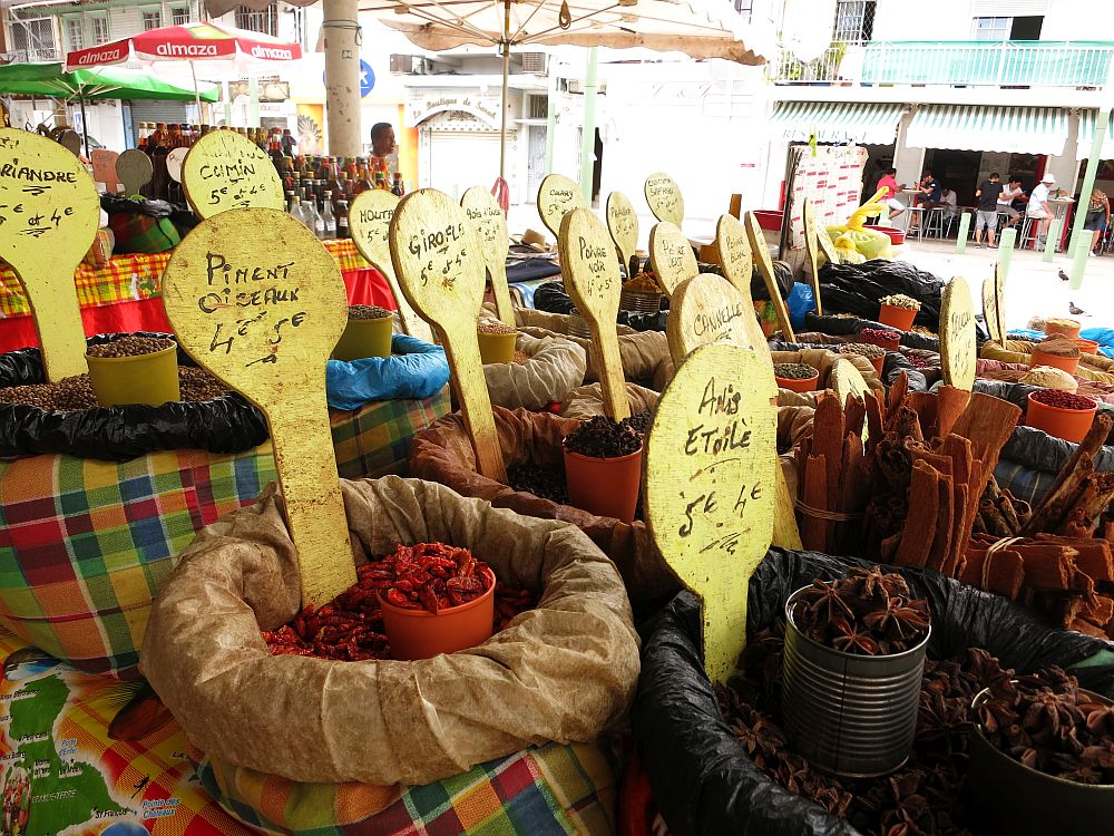 spices for sale at the market in Pointe-à-Pitre