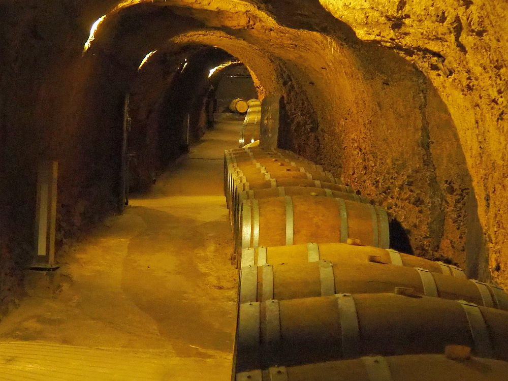 A tunnel carved from stone stretches into the distance, with a row of large barrels on their sides lining one side.