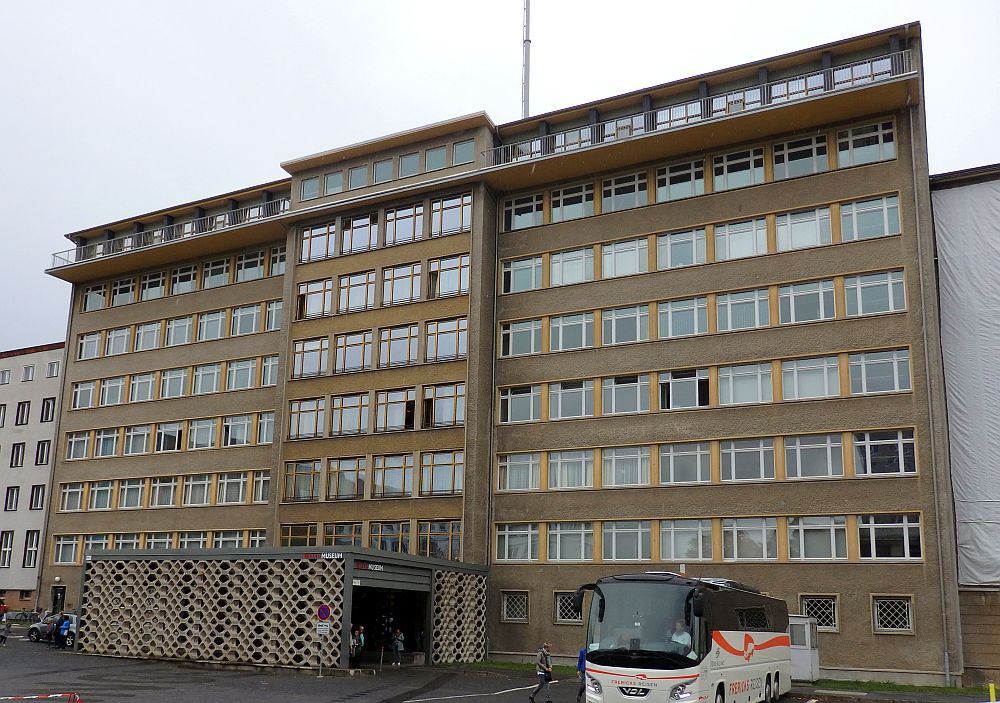 The Stasi Museum is in a concrete office block, 8 stories tall.