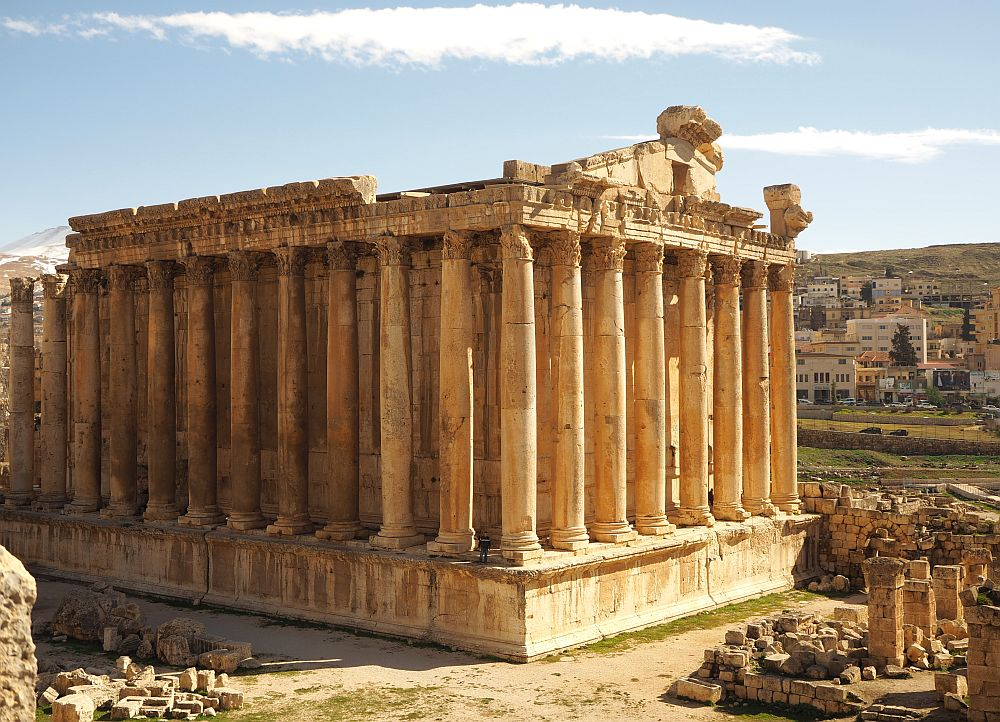 Here you can see 12 columns along one side and 8 across the shorter side. It's all up on a high platform, so the temple is actually significantly taller than the pillars. Temple of Bacchus at Baalbek ruins.
