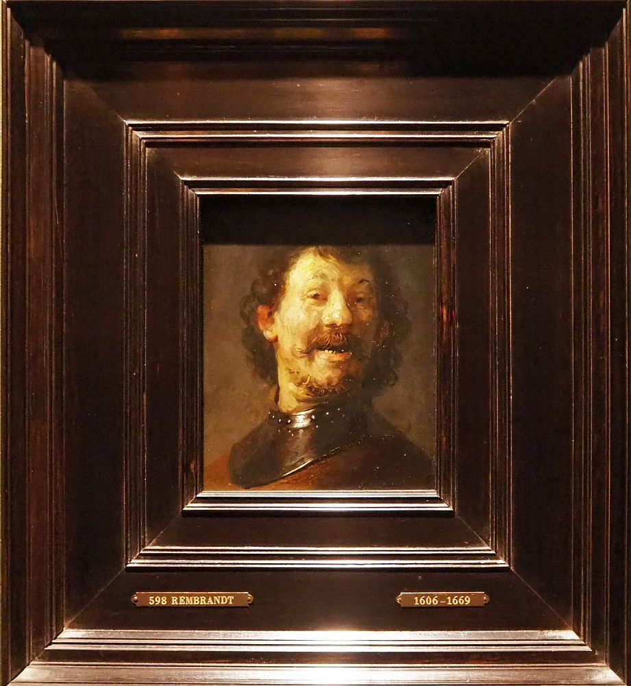 This picture is just what it says,: a laughing man. He's almost directly facing the viewer, lighted from one side. Brown curly hair and scruffy beard.  Den Haag museum Mauritshuis