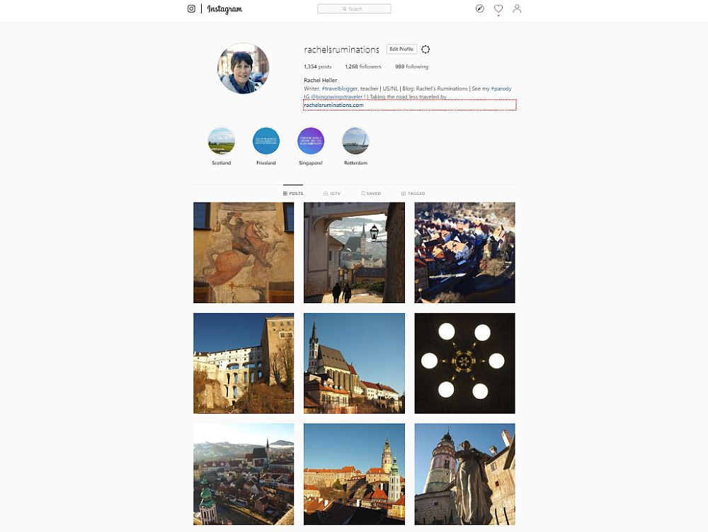 Under my instagram bio and photo is a square of 9 photos: a fresco, a view through an archway, a view over a city (Kutna Hora), a castle, a church, an indoor view looking up at a chandelier, another view over Kutna Hora, a view of church towers, a shot of a statue from below, with a castle tower behind it.
