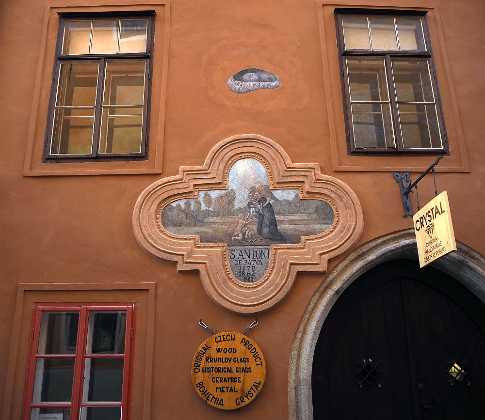 A painting on a building in Cesky Krumlov