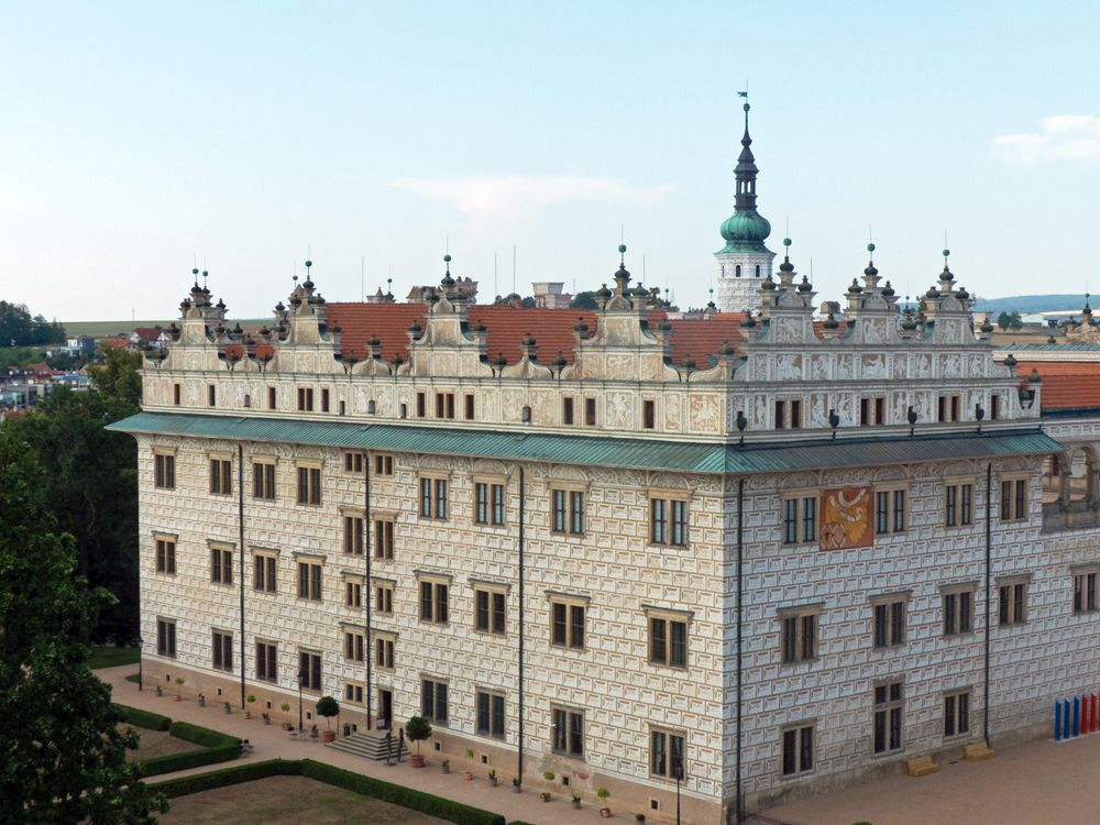 Litomysl Castle is a square white block of about 4 or 5 stories.