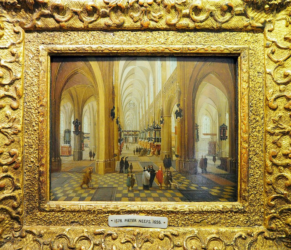 The painting shows the interior of a cathedral, with people standing in the foreground.