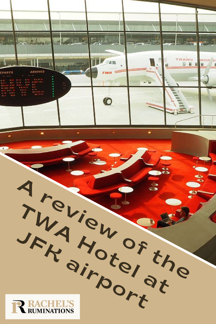 The old TWA terminal in JFK Airport, designed by Eero Saarinen in 1962, has been restored and repurposed into the TWA Hotel: a review of the new hotel. #TWAHotel #JFKAirport #nyc #EeroSaarinen #1962 #hotelreview via @rachelsruminations
