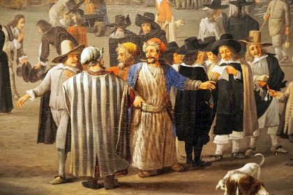 the detail shows a group of men in long, striped robes, with beards and turbans, and a group of locals dressed in black with wide-brimmed hats and white collars.