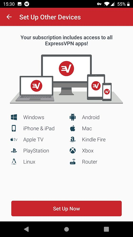 "This ExpressVPN screenshot shows a list of icons and names: Windows, iPhone & iPad, Apple TV, Playstation, Linux, Android, Mac, Kindle Fire, Xbox, Router. Below is a big red button that says ""Set Up Now""."