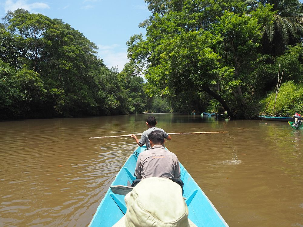 taken from the middle of the longboat, the head of one person is visible ahead (or rather his hat) and two people's backs in a row in front of him. The man at the front of the boat is holding a thin pole horizontally. The boat is painted blue inside, and the water is brown and still. On both banks: lush greenery. Memories like this are one of the reasons I (Rachel) have become addicted to travel.
