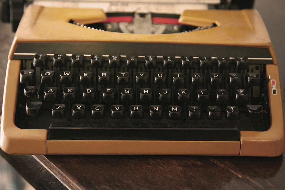 A view of an old-fashioned electric typewriter keyboard.