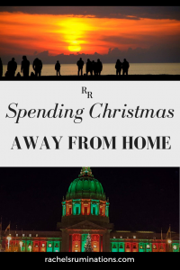 Pinnable image: Text: Spending Christmas away from home Images: a row of people silhouetted against a sunset over the water (top) and San Francisco City Hall lit up in green and red (bottom)