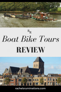 PInnable image Photos: a tugboat pushing an old boat in front of it above and a view of Kampen with houses and a church below. Text: Boat Bike tours review