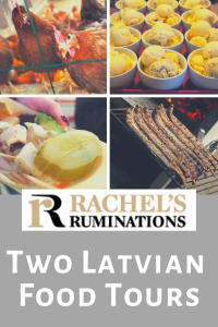 Pinnable image Text: Rachels Ruminations: Two Latvian Food tours Images: 4 images from the article: chickens, icecream, a plate of pickles and cheese, and grilled eels