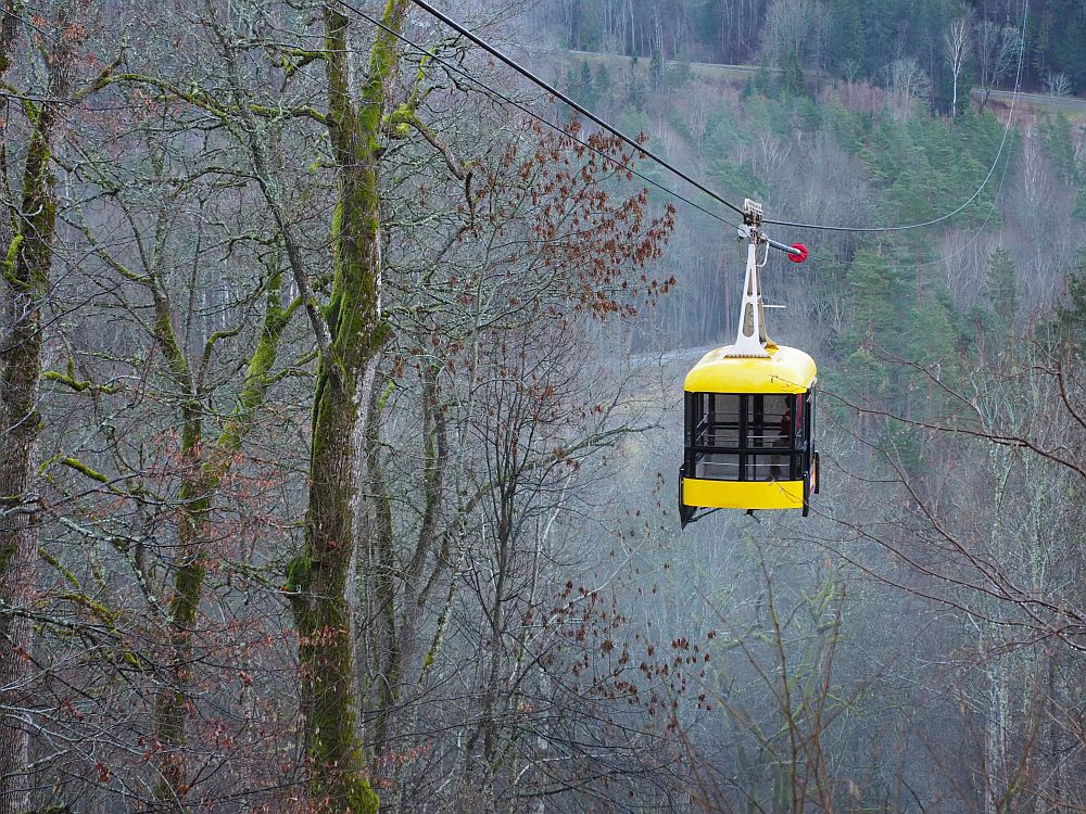 A square cabin hangs from a wire. The cabin has windows all around and is bright yellow on the top and bottom. The scene around the cable car is filled with leafless trees.