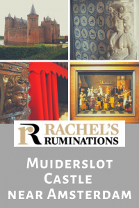 Pinnable image Text: Rachel's Ruminations. Muiderslot Castle near Amsterdam Images: external view of the castle, closeup of a fireplace carving, closeup of a box bed carving, and a painting of the bakers of Eeklo.