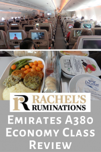 Pinnable image: Text: Rachel's Ruminations: Emirates A380 Economy Class Review Images: a view down an aisle in the plane from behind and a shot of an onboard meal tray.