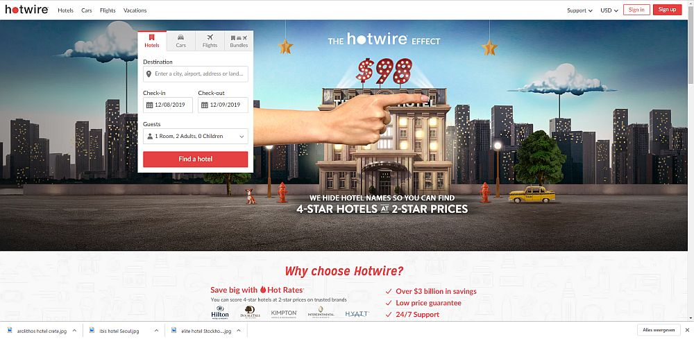 """A screenshot of Hotwire's homepage. It has a small box to fill in with destination, check-in and check-out and guests. The rest of the screen is a big ad for Hotwire reading: """"The Hotwire Effect. We hide hotel names so you can find 4-star hotels at 2-star prices."""""""