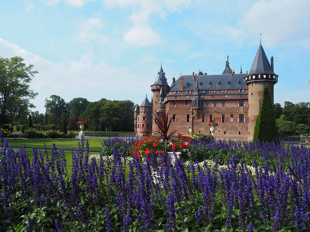 From this standpoint, the castle has a round turret on the right-hand corner and several smaller ones on the left, as well as a number of decorative turrets here and there. In the foreground are some bright purple flowers and, behind them, some bright red flowers. Some neatly mowed grass is visible between the flowers and the moat around the castle.