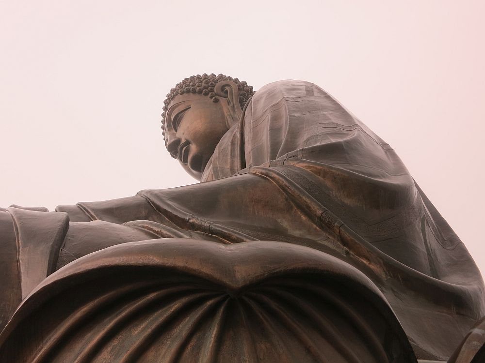A side view of the Big Buddha, taken from below.