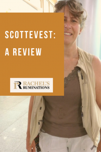 Pinnable image Text: Scottevest: A review (and the Rachel's Ruminations logo) Image: I'm standing facing the camera, smiling, with messy hair. The vest is open down the front, over a brown sleeveless shirt. The vest is off-white, and bulges on one side. The collar is tucked under and looks messy.
