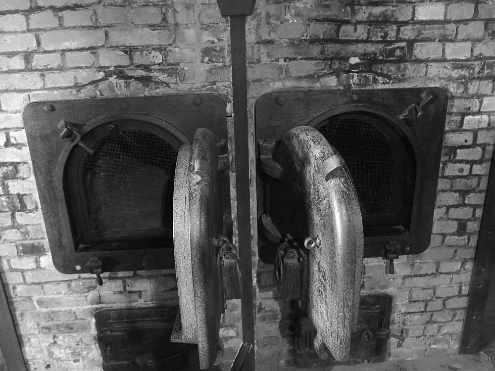 The photo shows two ovens in black and white. The structure is made of brick, the oven doors are heavy metal, square with an arched top. They stand open.
