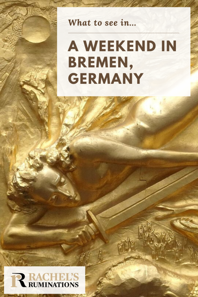 "Pinnable image Image: the golden bas-relief ""Lichtbringer"" Text: What to see in ... a weekend in Bremen"