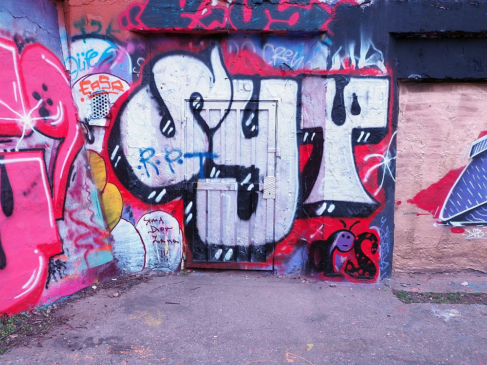 The wall is covered in tagging-style graffiti. The piece where the door is reads SYT.
