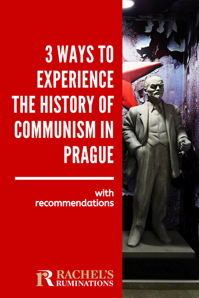 Pinnable image Text: 3 ways to experience the history of communism in Prague: with recommendations Image: a statue of Lenin, hand in pocket