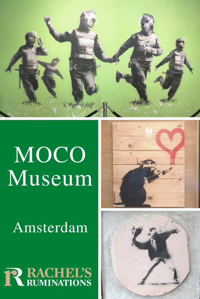 PInnable image Text: Moco Museum Amsterdam and the Rachel's Ruminations logo Images: top is an image of people in riot gear running through a green field, arms flung out like they are children frolicking. Middle is a picture of a rat holding a stick of lipstick with which it has drawn a heart on a wall. Bottom is an image of a rioter with a scarf covering his mouth, in a pose of throwing a brick, but he is throwing a bouquet of flowers.