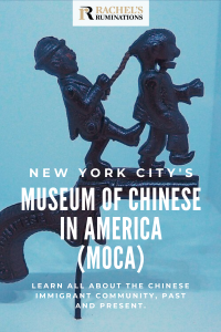 Pinnable image Text: New York City's Museum of Chinese in America (MOCA). Learn all about the Chinese immigrant community, past and present. Image: a cap gun with an image of a white man kicking a Chinese man while pulling on his braided hair.