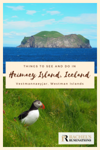 Pinnable image Photos: Above, an island with steep cliff sides above blue sea. Below, a puffin standing on a grass. Text: Things to see and do in Heimaey Island, Iceland, Vestmannaeyjar, Westman Islands