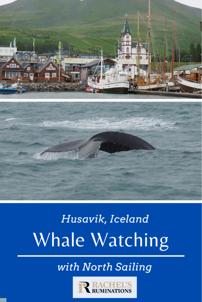 Pinnable image Text: Husavik, Iceland Whale Watching with North Sailing Images: above: Husavik harbor. Below: the whale's tail
