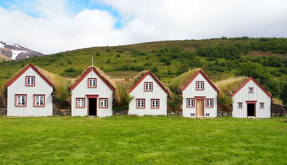 Five houses in a row, looking like the sorts of houses that children draw: 3 have a door in the middle, one window on either side of the door and one window directly above the door. The other two (far left and middle) have just 2 windows below and one in the center above. All houses are off-white with orangey-red trim. Grass grows on their roofs and the spaces between them are filled with grass-covered turf.