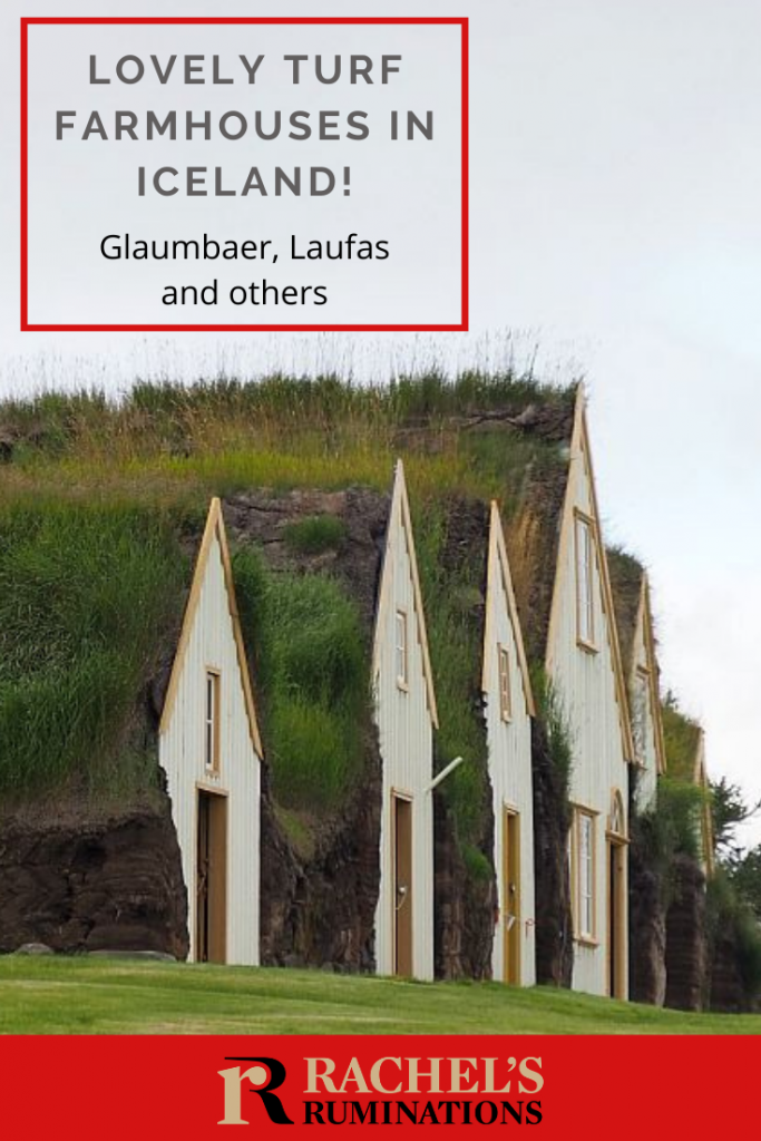 Pinnable image Text: Lovely turf farmhouses in Iceland! Glaumbaer, Laufas and others Image: the front gables of Glaumbaer, seen from an angle. Off-white with a yellowish-orange trim and doors.
