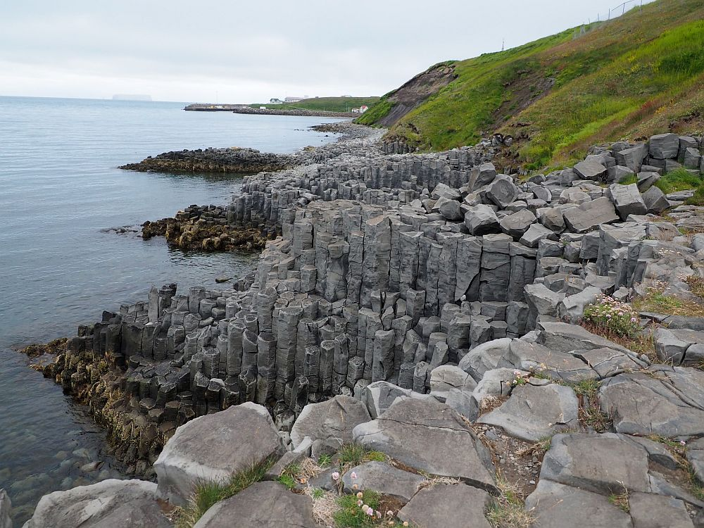 Looking along the coast, sea on the left and moss-covered hill on the right. The coast itself is very rocky, and the rocks are in the form of basalt columns, sticking out in a series of points into the sea.