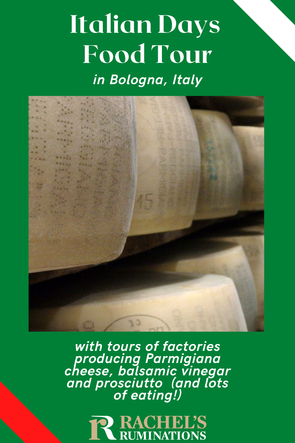 A review of Italian Days Food Tour in Bologna, Italy, with factory tours and tastings of parmigiano cheese, balsamic vinegar and prosciutto. Italian | ItalianDays | Bologna | Italy | foodie | food tour | parmigiano | balsamic | prosciutto via @rachelsruminations