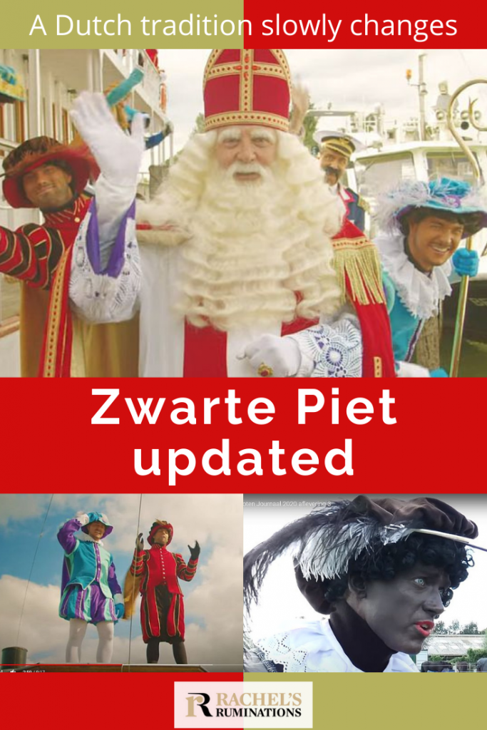 Pinnable image Text: A Dutch tradition slowly changes: Zwarte Piet updated Images: Top is Sinterklaas waving. Bottom left, two white-skinned Petes. Bottom right, a Black Pete.