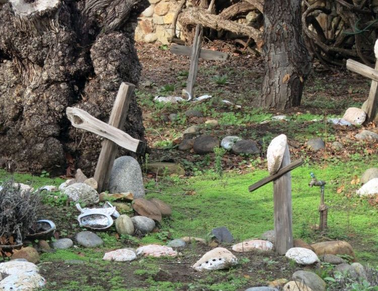 Two graves in the foreground, each with stones on it and a very crude wooden cross. The cross on the right has a large oyster shell hanging from it. There is a big old tree trunk behind the left-hand grave and another grave is visible in the background on the right.