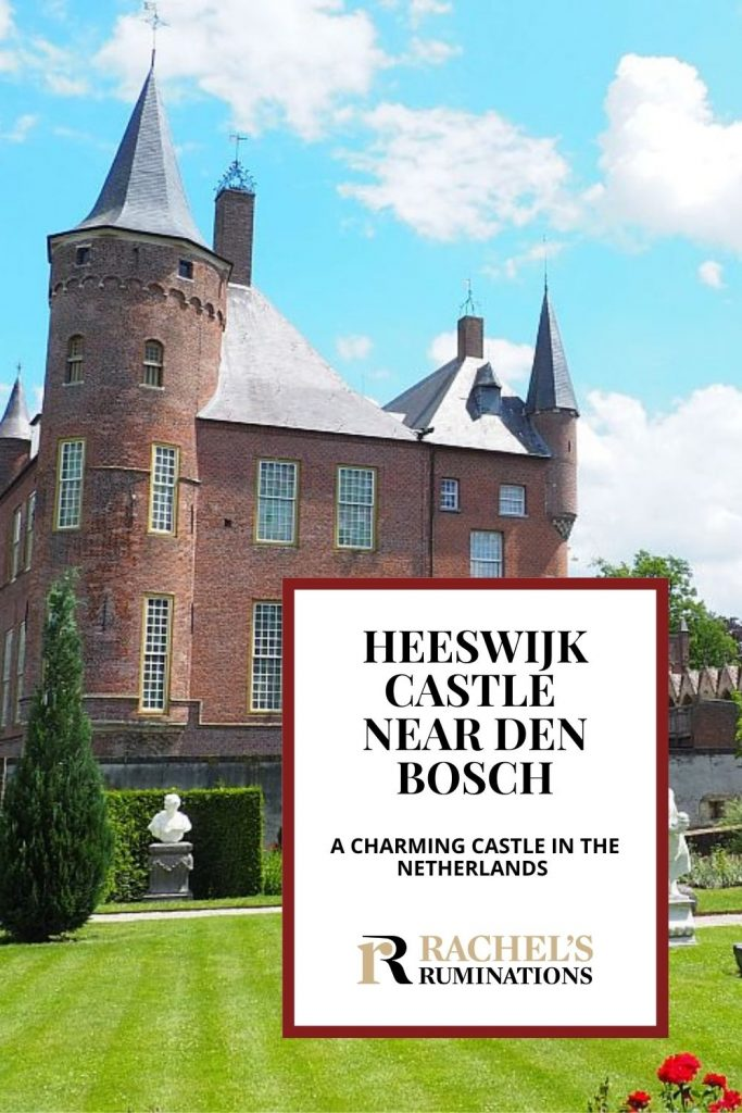 Pinnable image Text: Heeswijk Castle near Den Bosch: A charming castle in the Netherlands Image: view of the castle: red brick, round turrets, with a neatly mown grassy garden in front.
